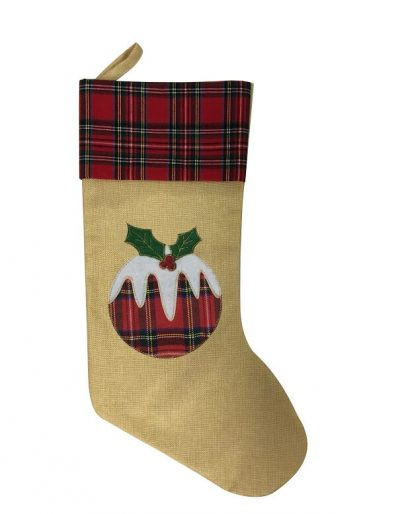 Hessian 3 designs Xmas stockings Pudding Product