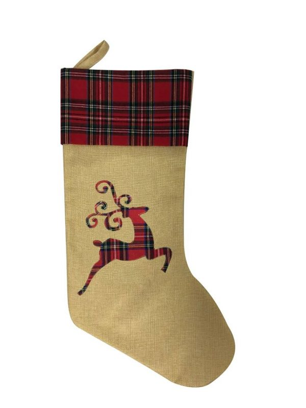 Hessian 3 designs Xmas stockings Reindeer Product