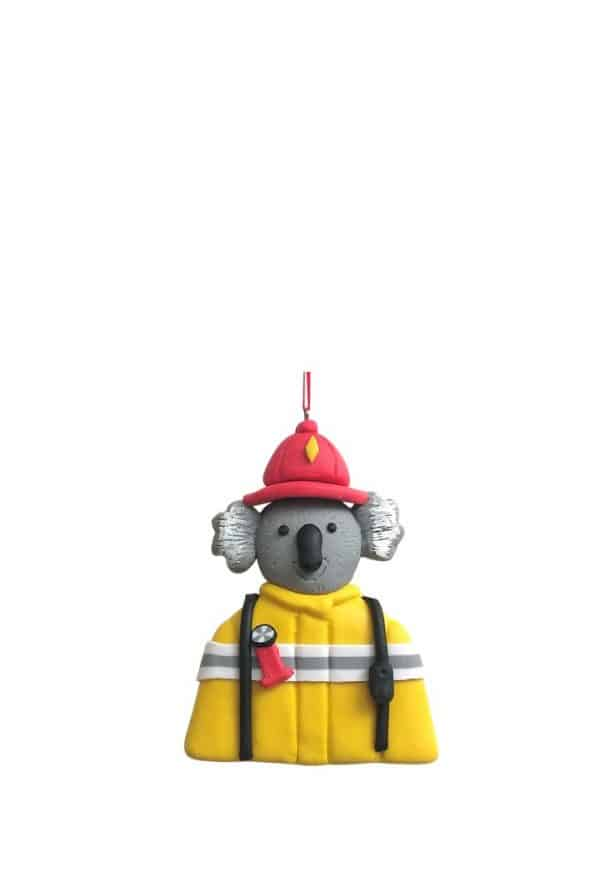 """Saving The Day"" Koala tree ornament. Give a ""Gift of Appreciation"" to some one you may know who helped you during the horrible bush fires or someone who made an impact on your life helping you in difficult time. Check our beautiful 90cm Fireman Santa in Mrs Claus & Santa category"